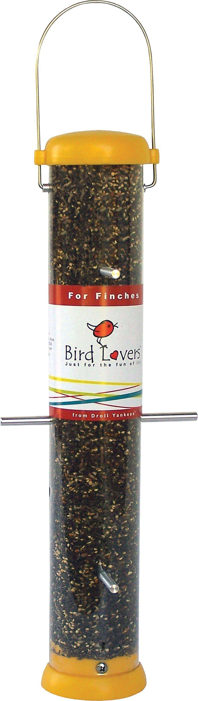 droll yankees inc bird lovers bottoms up finch feeder yellow 15