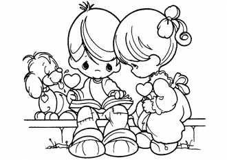 Раскраска мальчик и девочка читают книгу. | Рисунки для ...