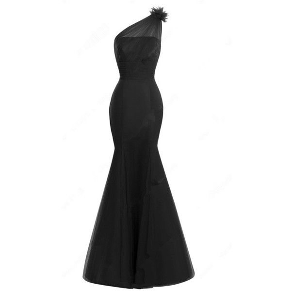 Black Trumpet Mermaid Tulle Floor Length Ruffles One Shoulder Long ...