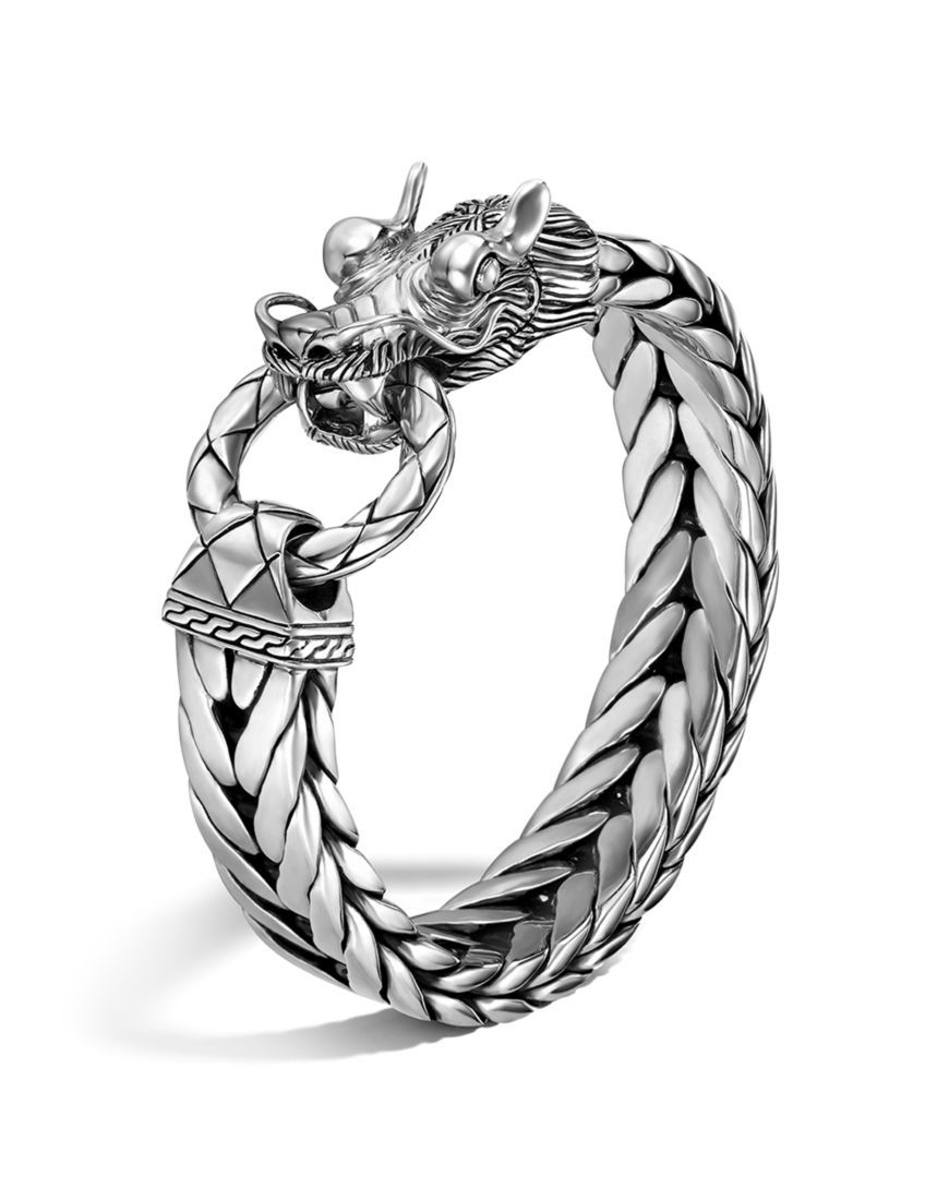 1b3cbe26d2152 Men's Naga Silver Dragon Head Bracelet on Fishtail Chain | physique ...