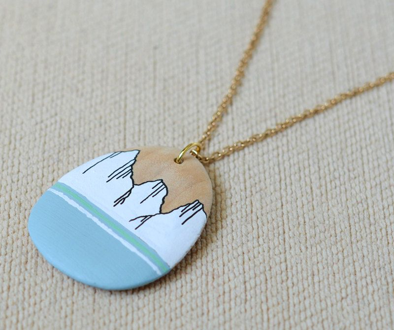 isn't this lovely? i love the colors and especially the little wood peaking out behind the mountain. by ElizabethPawle on @Etsy $32