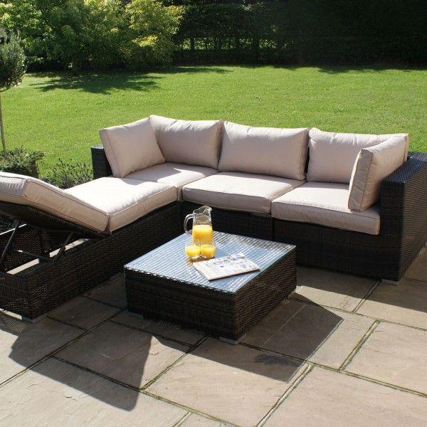 maze rattan rio corner group garden furniture set brown