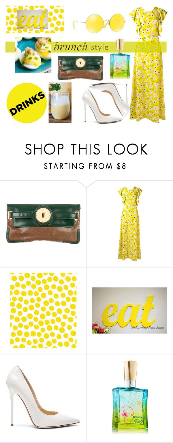"""Deviled eggs benedict & creamsicle mimosa"" by imanimari on Polyvore featuring Balenciaga, Rochas, Jennifer Paganelli, Jimmy Choo, Ray-Ban and brunchgoals"