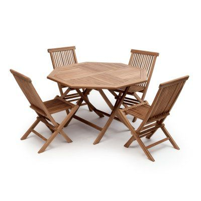 Suntime Outdoor Living Bali Octagonal Folding Teak 5 Piece Patio - gartenmobel set alu 5 teilig