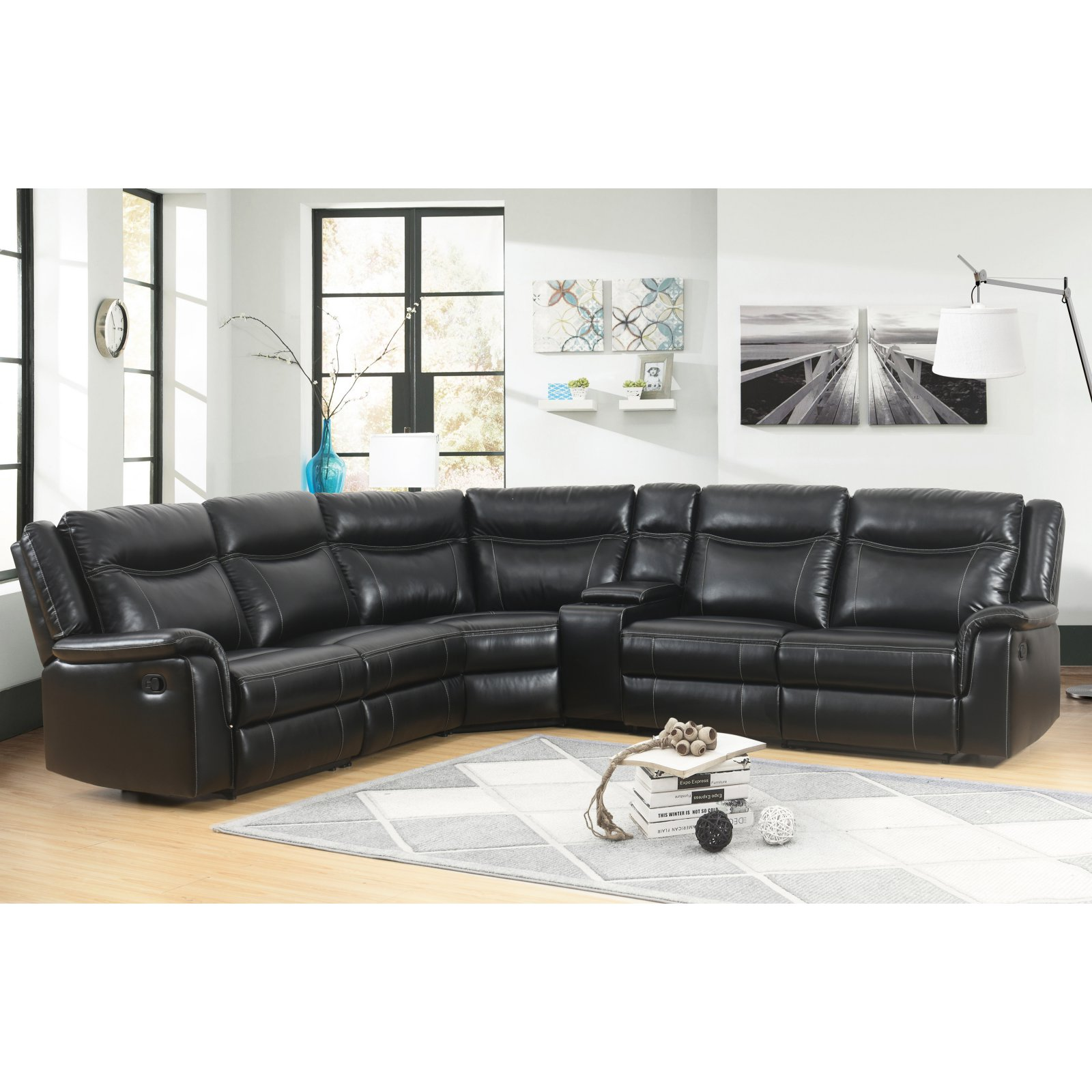 Best Abbyson Living Garrett Reclining Sectional With Console In 400 x 300