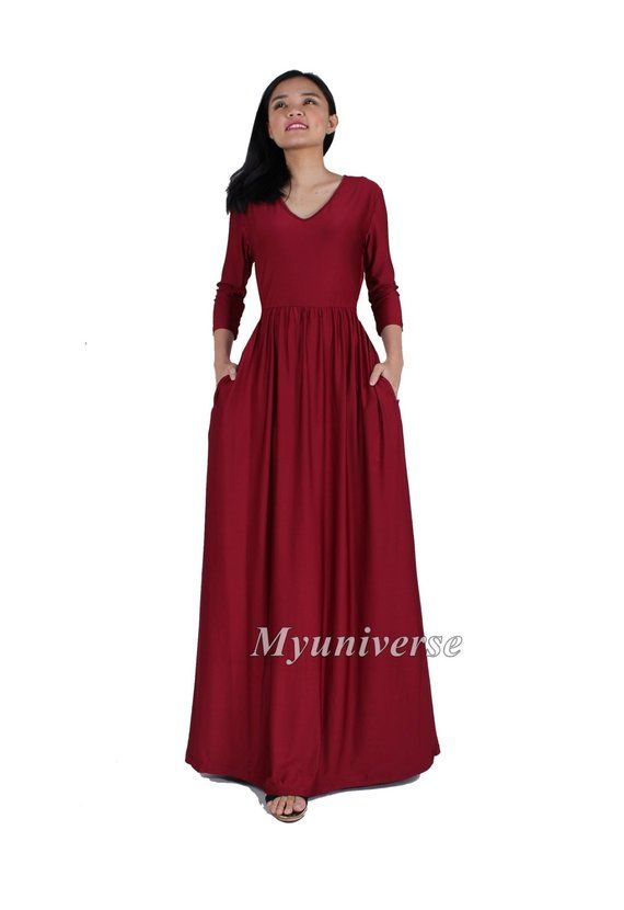 Maxi Dress 3 4 Sleeves Plus Size Clothing Burgundy Wine Red Maroon Bridesmaid  Dress Evening Dress Su 3fc32c454e1b