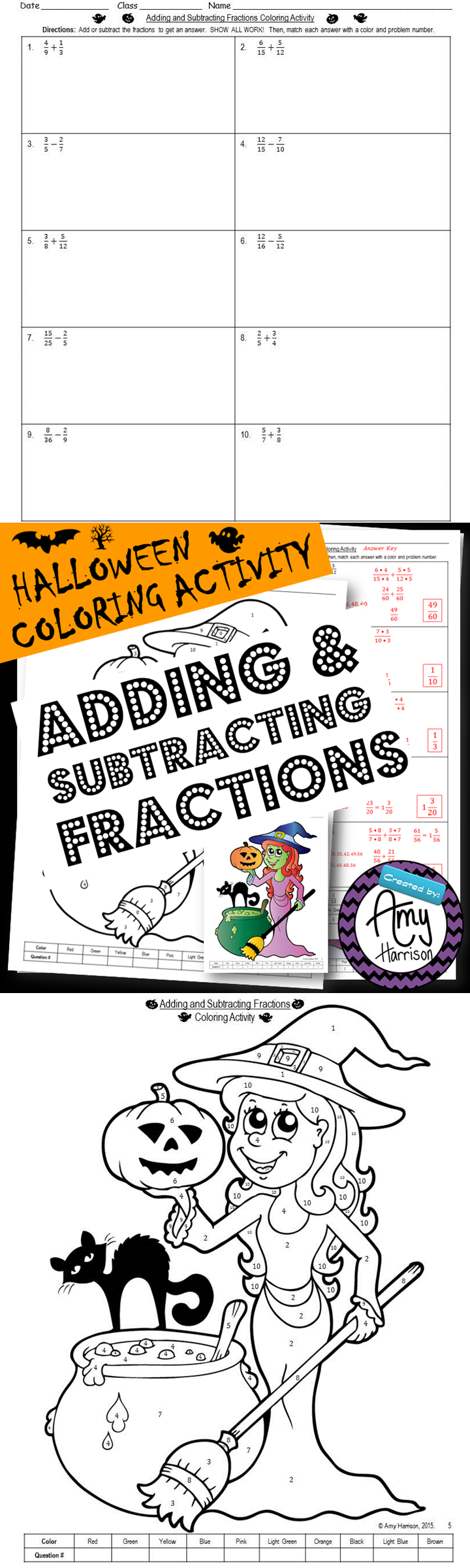 FREE Halloween Coloring Activity Adding and Subtracting
