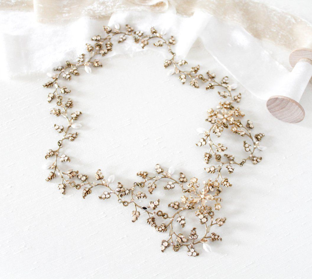 Antique gold Swarovski crystal bohemian style bridal headpiece - ABIGAIL #bridalheadpieces