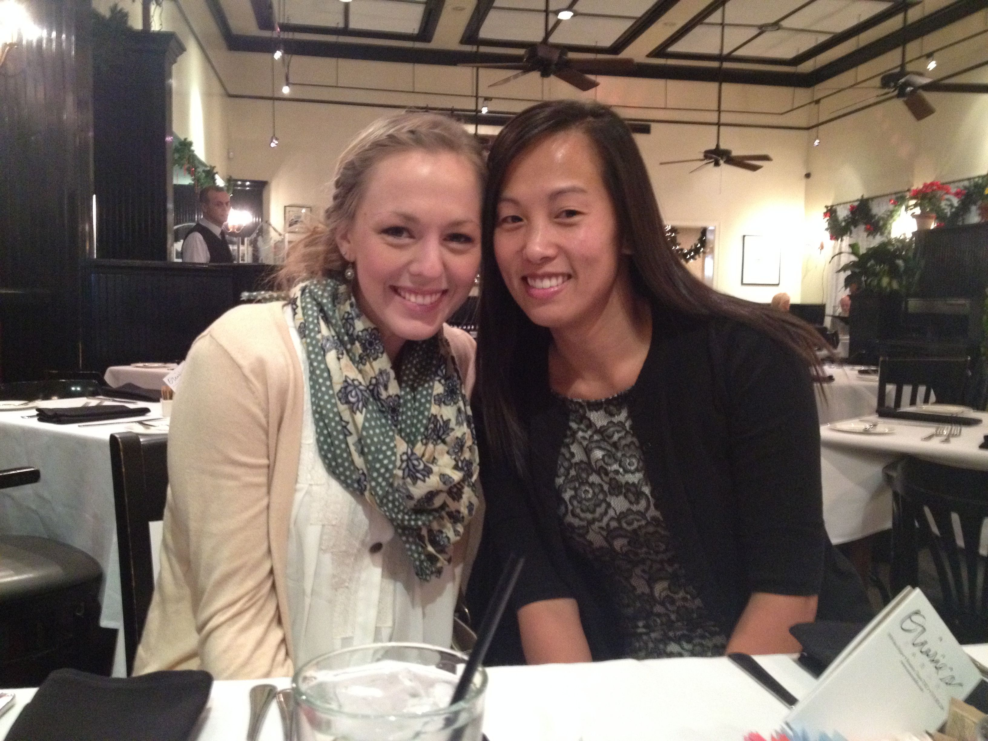 My-Hanh and Meaghan at Ouise's for our girls holiday brunch