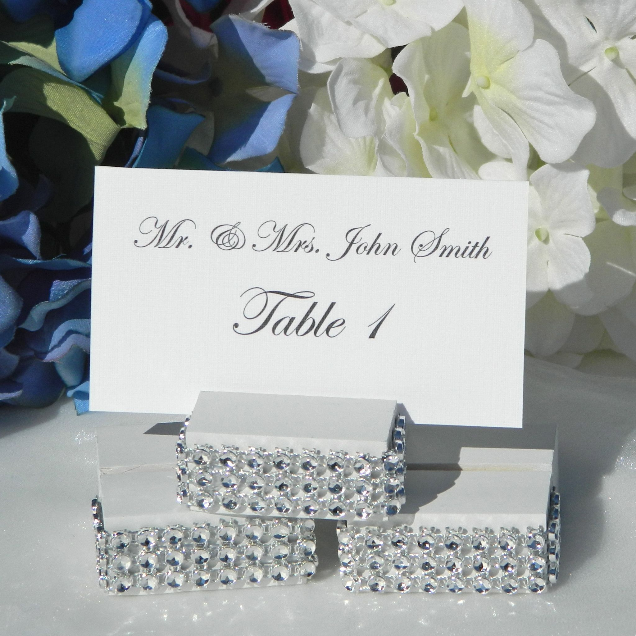 White Jeweled Wedding Place Card Holder | Place card, Wedding and ...