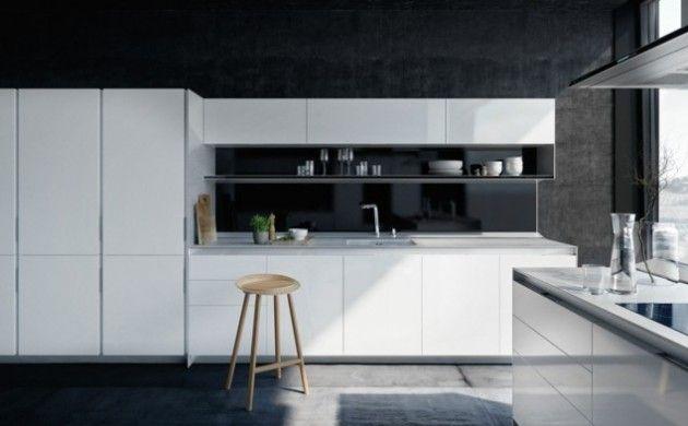 küchendesign modernes küchendesign weiße küchenmöbel betonwände ... | {Küchendesign 4}
