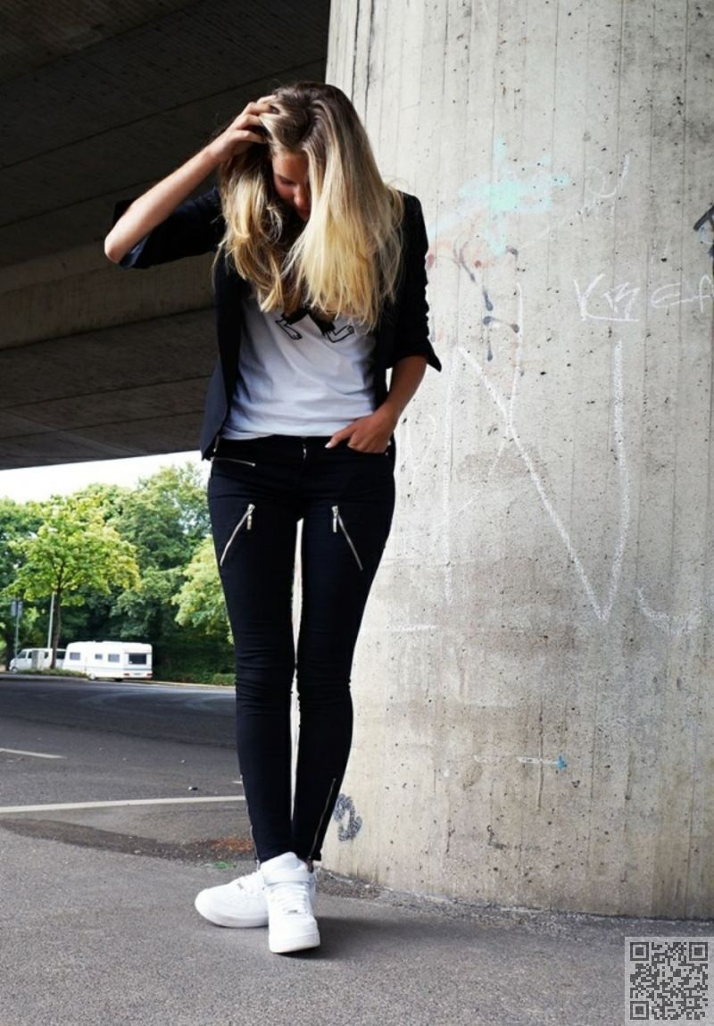nike air force 1 black womens outfit