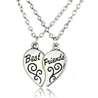 Yellow Chimes Carved Heart Locket Best Friends 2 PCS Combo
