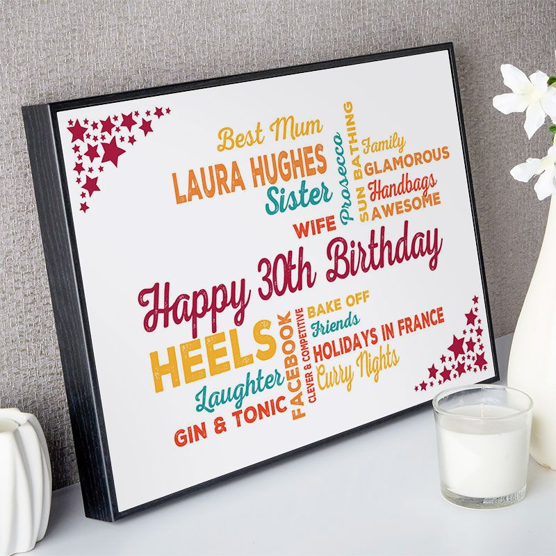 30th Birthday Gift For Her Of Typographic Art Birthday