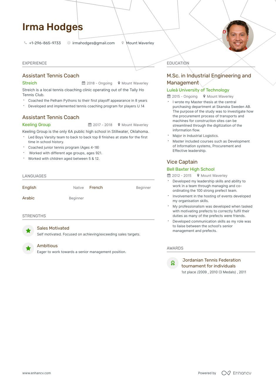 Tennis Coach Resume Example And Guide For 2019 Resume Examples Tennis Coach Resume