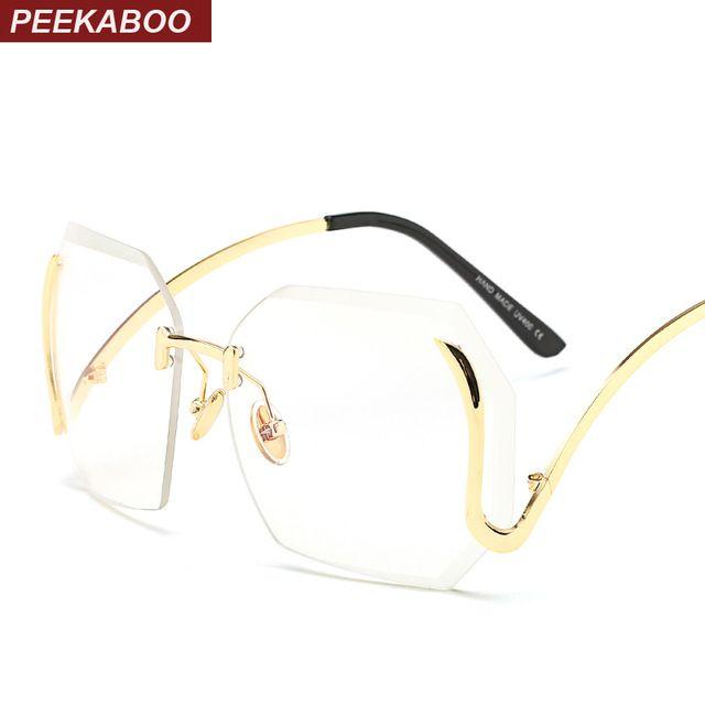 Peekaboo vintage clear lens rimless glasses frame for women female ...