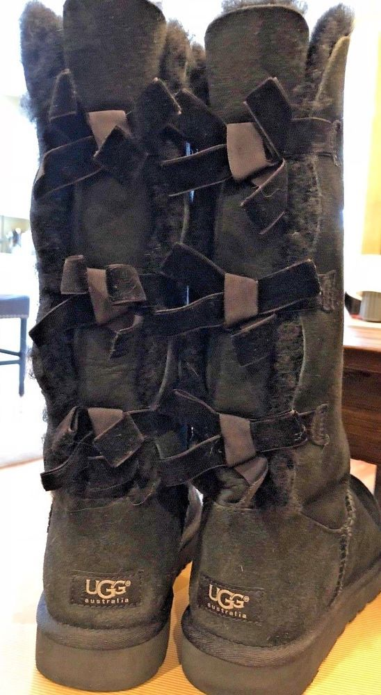b73d5377ea1 UGG Women's Tall TRIPLE BAILEY BOW Boots - BLACK Size 8 EXCELLENT ...