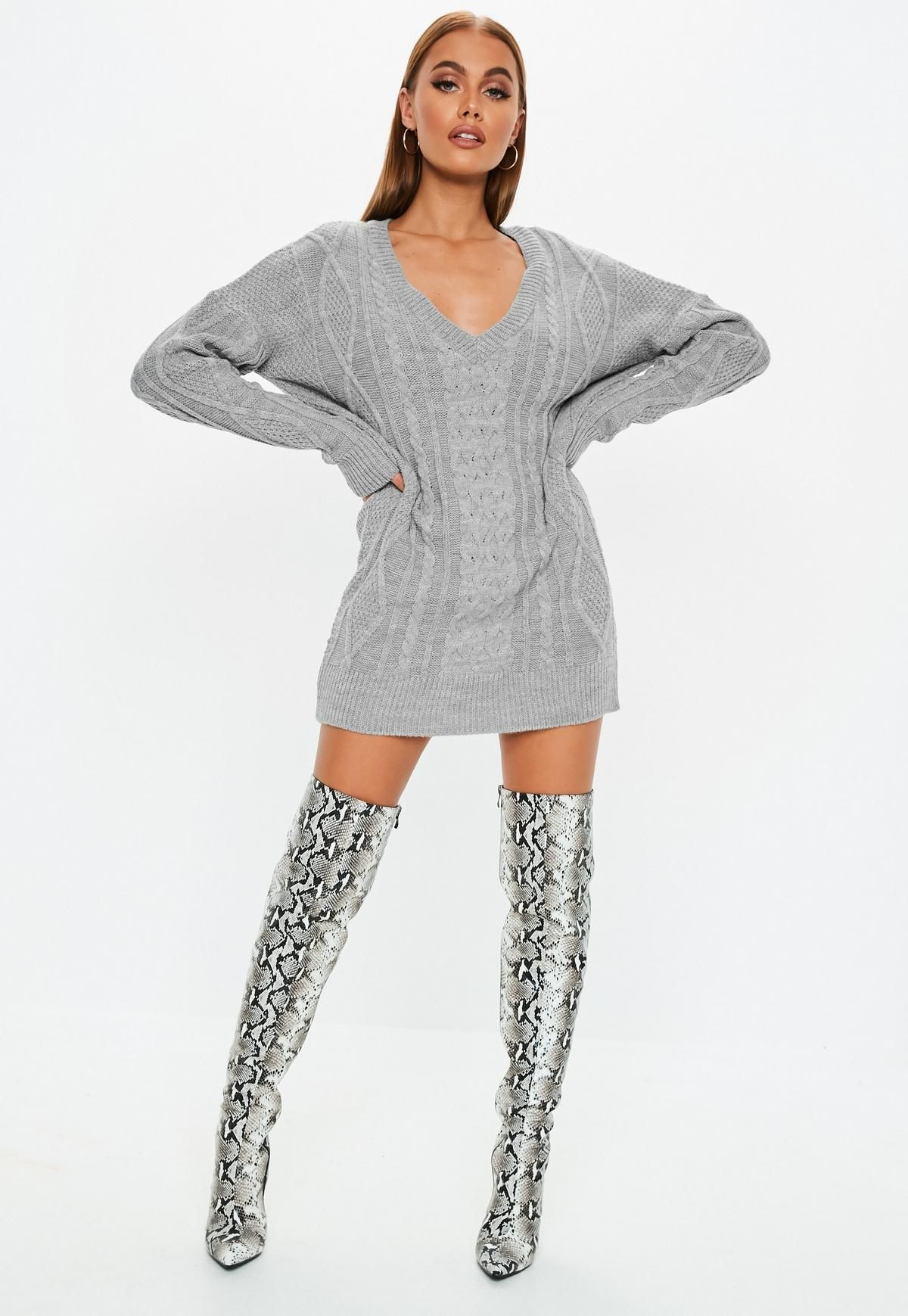03cd5abcb27c94 Gray V Neck Cable Knitted Sweater Dress in 2019 | sweaters and boots