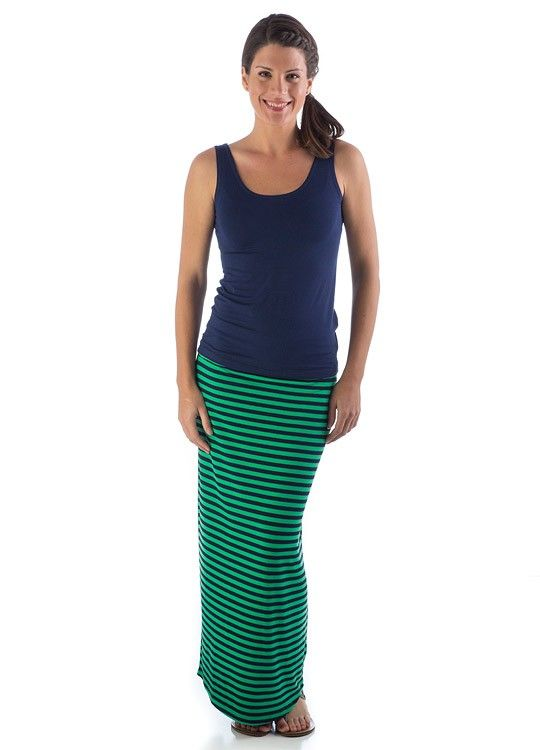navy and green striped maxi skirt | Gommap Blog