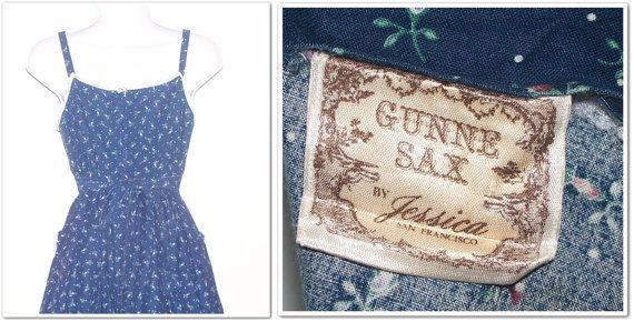 Vintage 70s Gunne Sax Blue Floral Corset Sun by calicovintage, $88.00