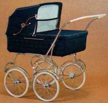 SVENSKTILLVERKADE BARNVAGNAR   EMMALJUNGA 260  Produktbladet för 1972 visar denna modell. Kan kompletteras med sittinsats /se längre ner/.  Perlonvelour. Celluloid på handtaget.