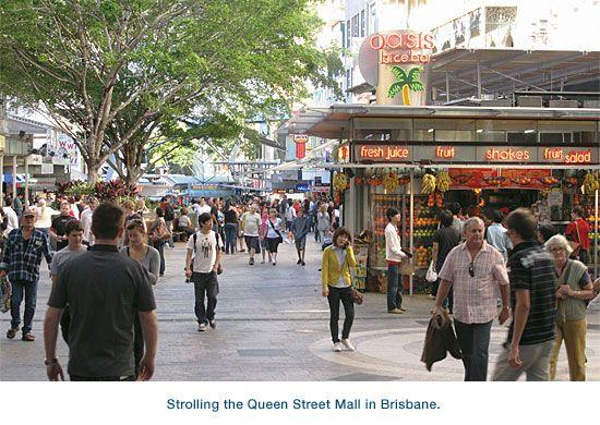 Strolling the Queen Street Mall in Brisbane.