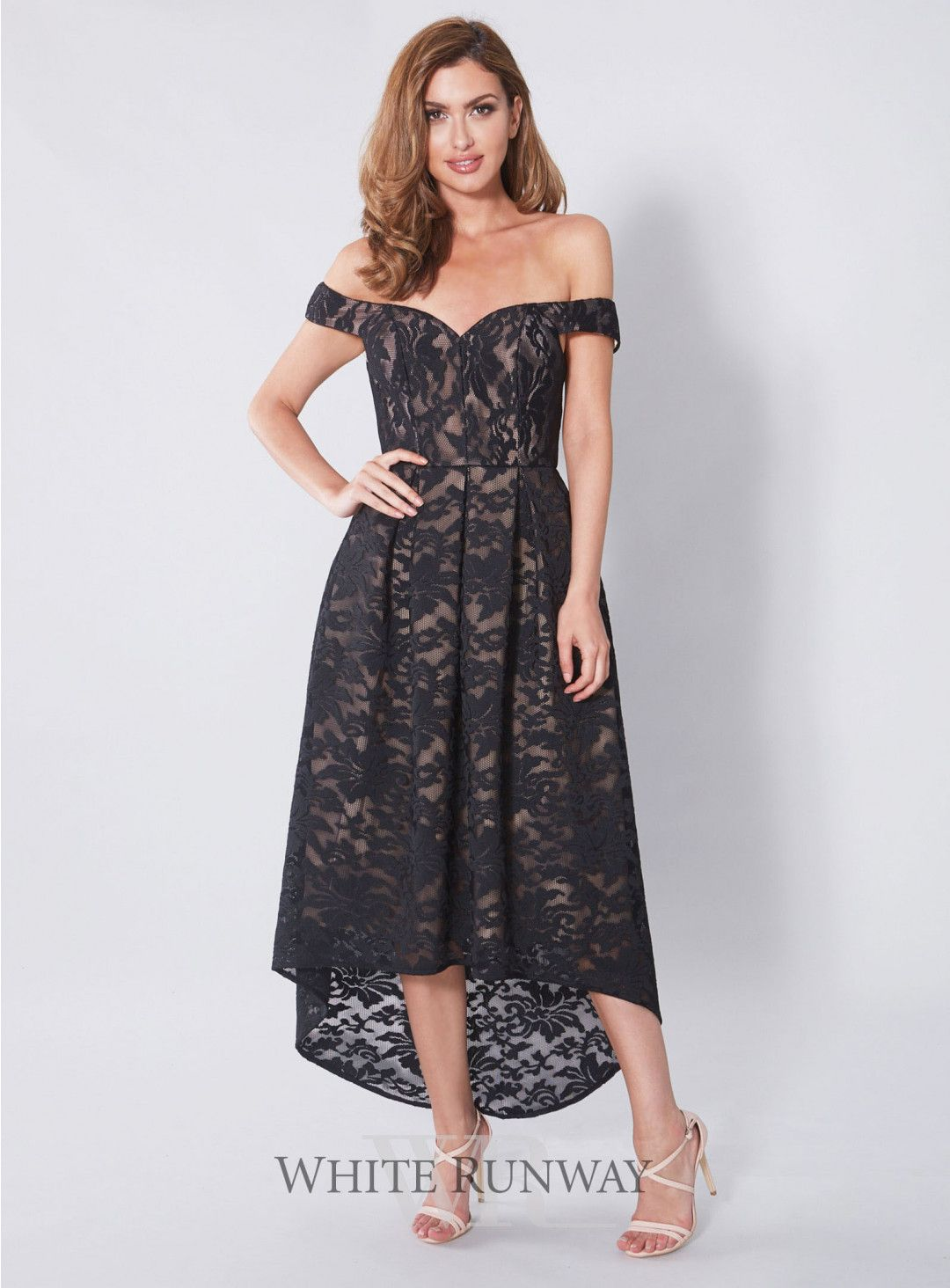 10d0e37da7 Mia Dress. A gorgeous midi length dress by Love Honor. A mesh floral  embroidered lace dress with a hi-lo pleated skirt and off shoulder  detailing.