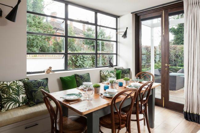 gemütliches Esszimmer Sitzbank Deko Kissen- grün weiß entsprechen - esszimmer mit sitzbank