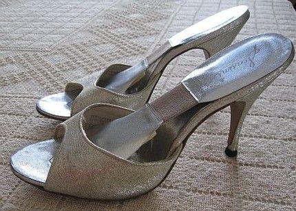 Vintage 50s Shimmering Silver Lame Springolators Pumps High Heel Shoes