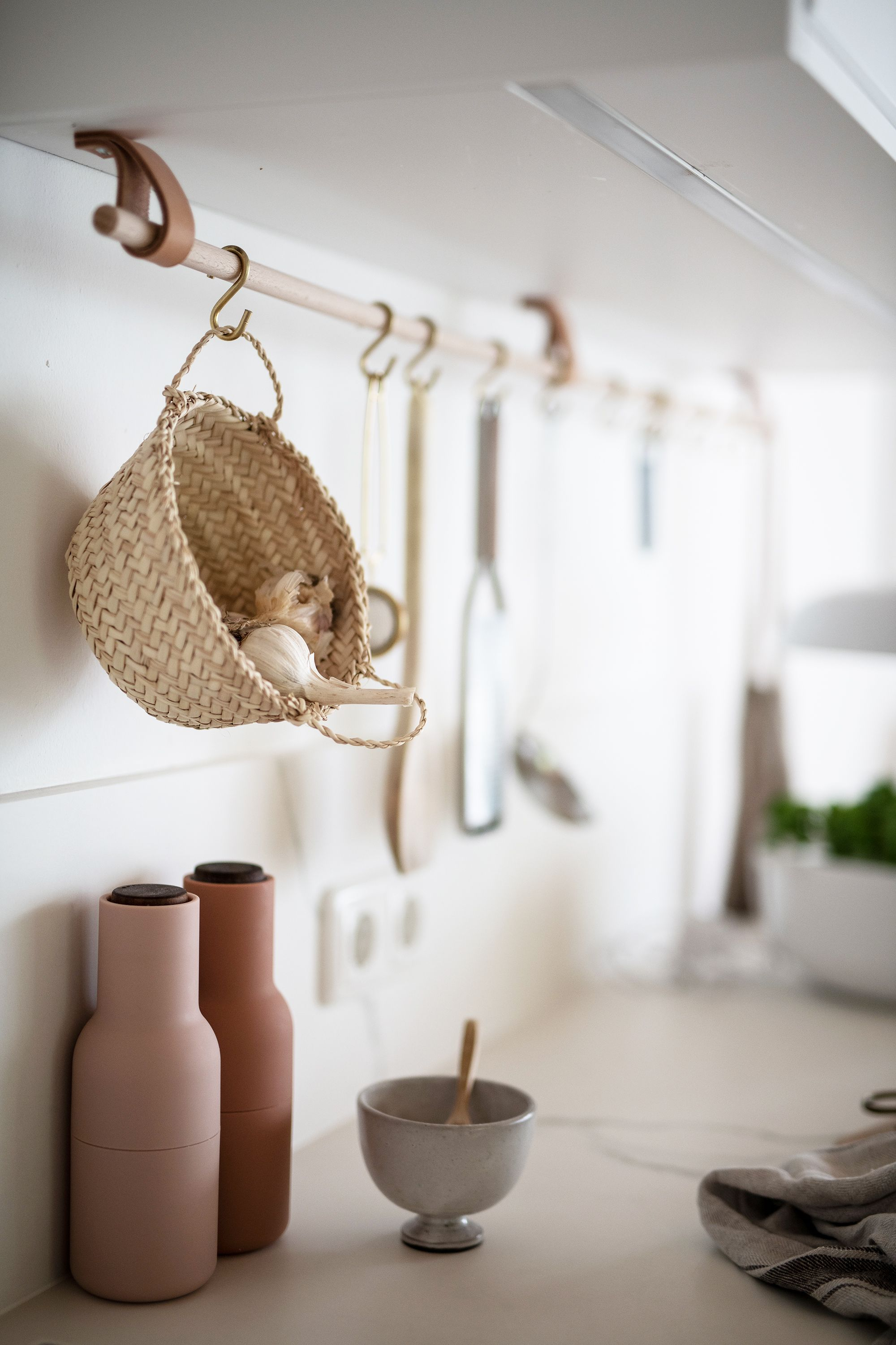Photo of A bright kitchen with marble, brass and leather apinchofstyle.com