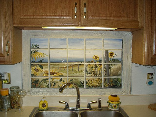 Fake Window With Sunflower Scene By Erinthepainter On Flickr Fake Window Fake Window Decor Window Decor