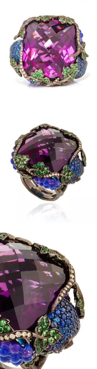 Lydia Courteille, One of a Kind Vendanges Tardives Ring, With an incessant fascination for the beautiful, the strange and the curious, this statement ring by Lydia Courteille features a three dimensional construction with a centered amethyst embellished with brown diamonds, fancy sapphires and tsavorite details surrounding it.