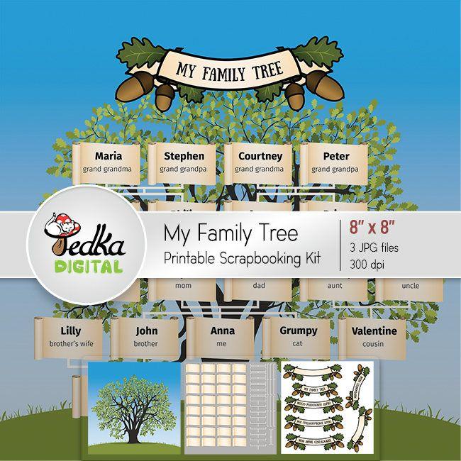 Printable Family Tree, Printable Scrapbooking Kit 8x8, DIY Template ...