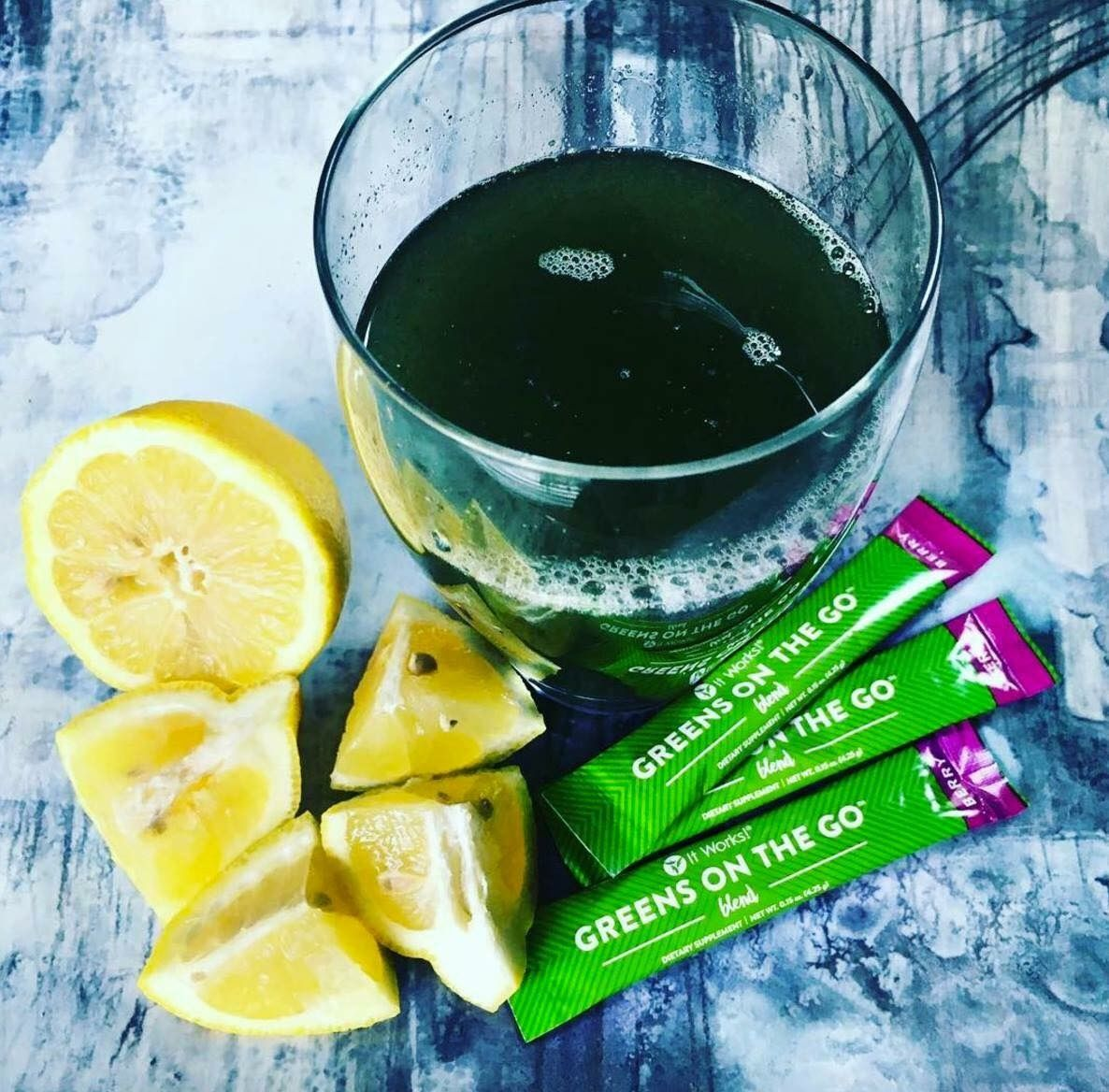 One glass. 🍹 34 fruits + veggies 🍉🥕 52 herbs + superfoods 🌱🥑 Matcha Green Tea 🍵 Soy Free, Dairy Free, Gluten Free 🚫 Vegan 🌿 No artificial flavors/sweeteners 🚫  Text Brittany 907-306-9489