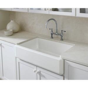 Kohler Whitehaven Farmhouse Undermount Self Trimming Apron Front Cast Iron 36 In Single Bowl Kitchen Sink In White K 6489 0 Single Bowl Kitchen Sink Kohler Whitehaven Cast Iron Farmhouse Sink