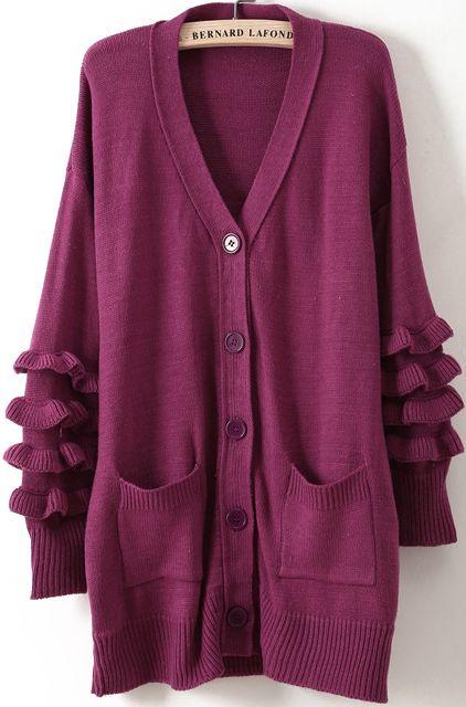 Purple V Neck Long Sleeve Pockets Knit Cardigan - Sheinside.com