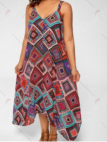 78b51c5021c MULTI Spaghetti Strap Geometric Printed Plus Size Handkerchief Dress 5XL