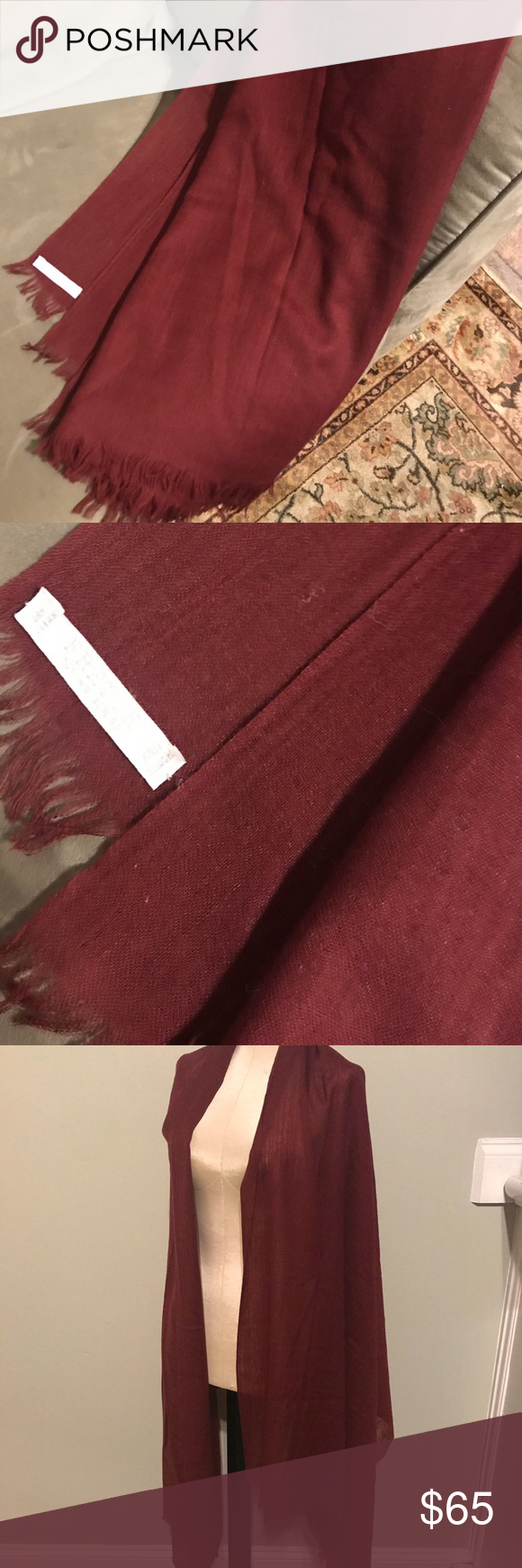 """387a21f885322 Fretted Italy Silk Cashmere Scarf Wrap Shawl Great condition Measures  35""""x86"""" Silk cashmere Lite weight Shawl/wrap /scarf Made in Italy frette  italy ..."""