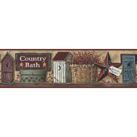 Roommates Better Homes And Garden Country Bath Border Multicolor