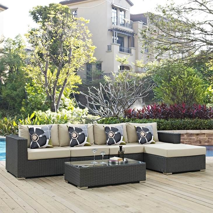 Pergola Design Ireland: SOJOURN 5 PIECE OUTDOOR PATIO SUNBRELLA® SECTIONAL SET IN