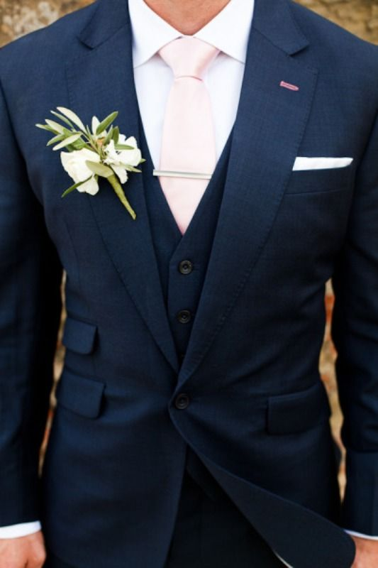 Hot 2014 Wedding Trend Navy Suits For Grooms. Beautiful!