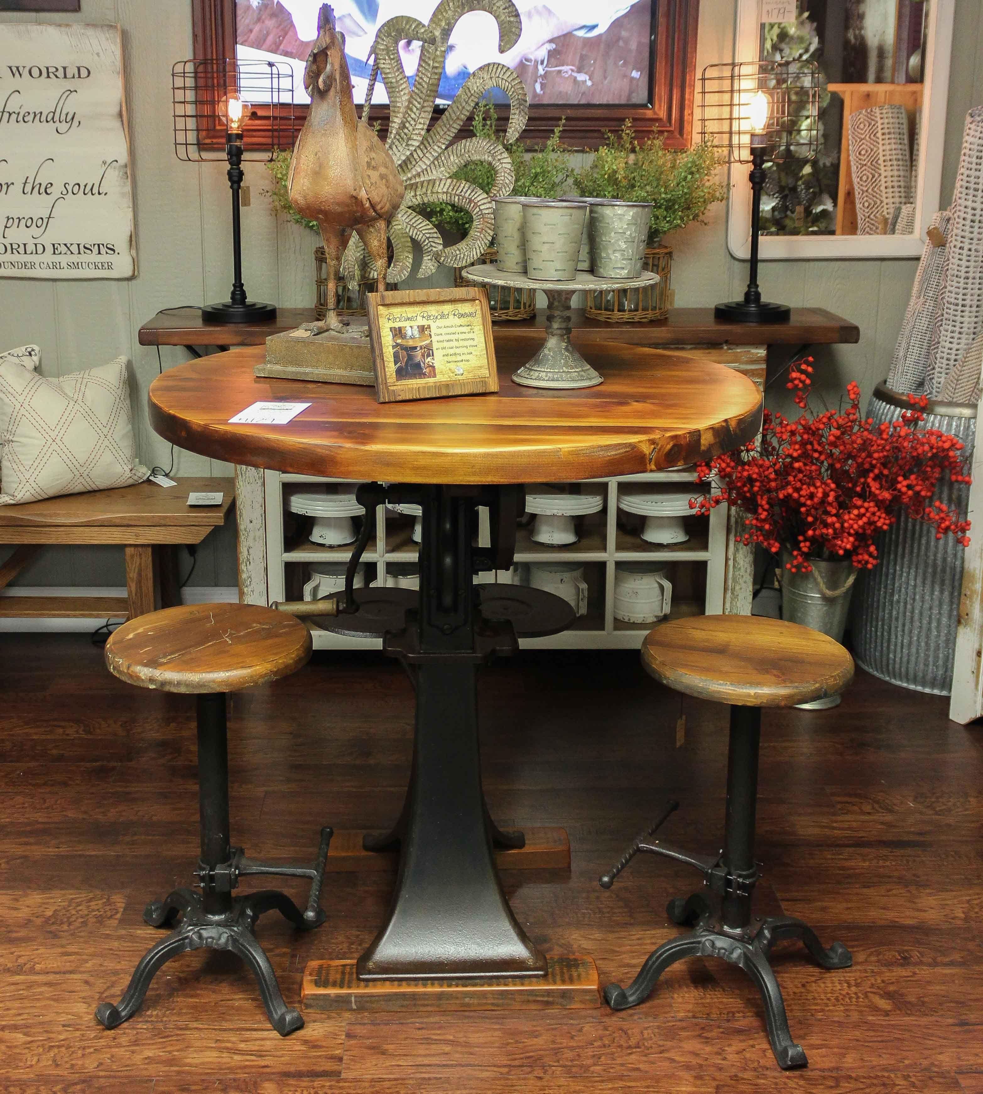 Barnwood pub table with cream separator base 1129