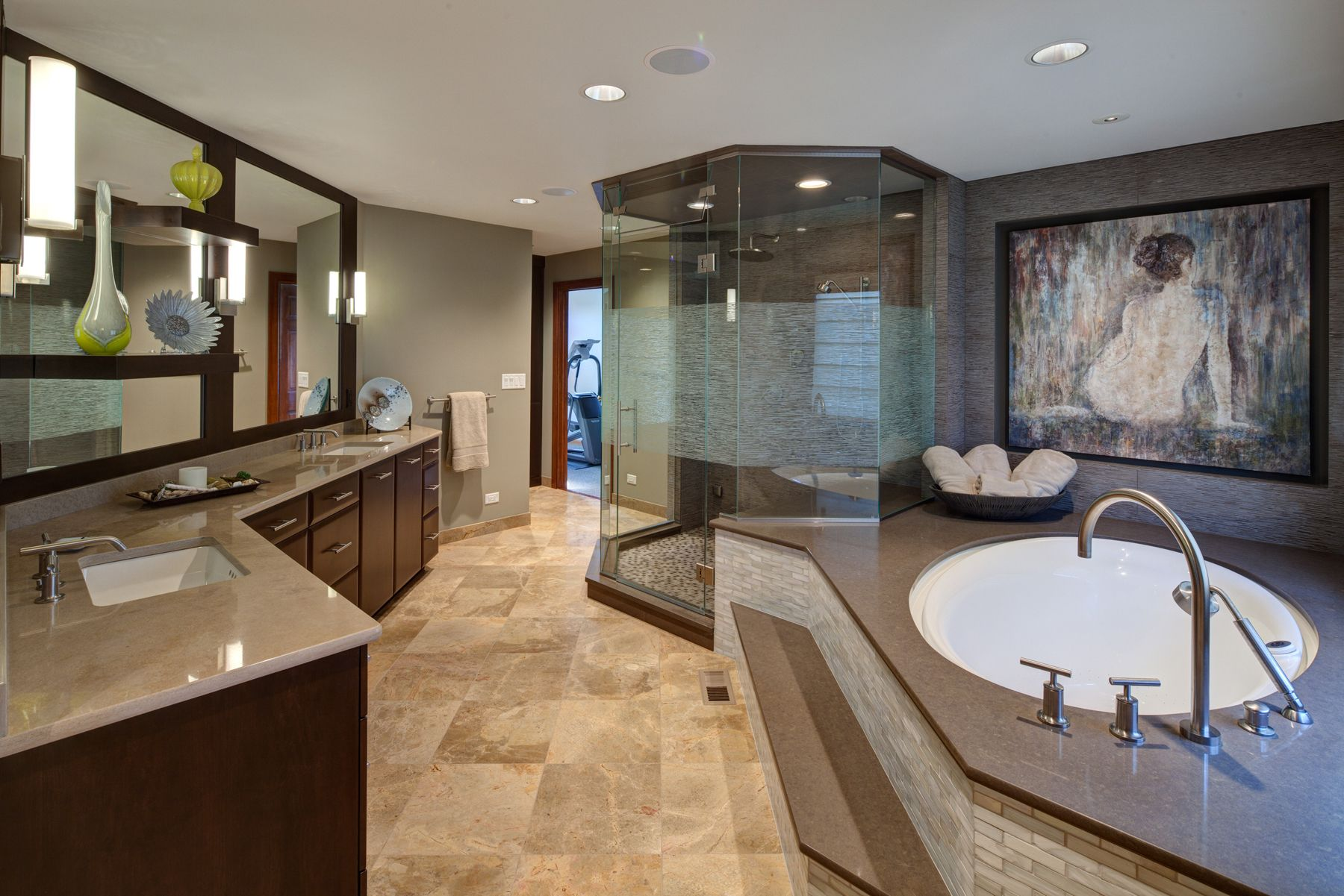 Spa bathroom suites - Master Bath Suite With Double Tub Walk In Shower And Asian Design Inspirations