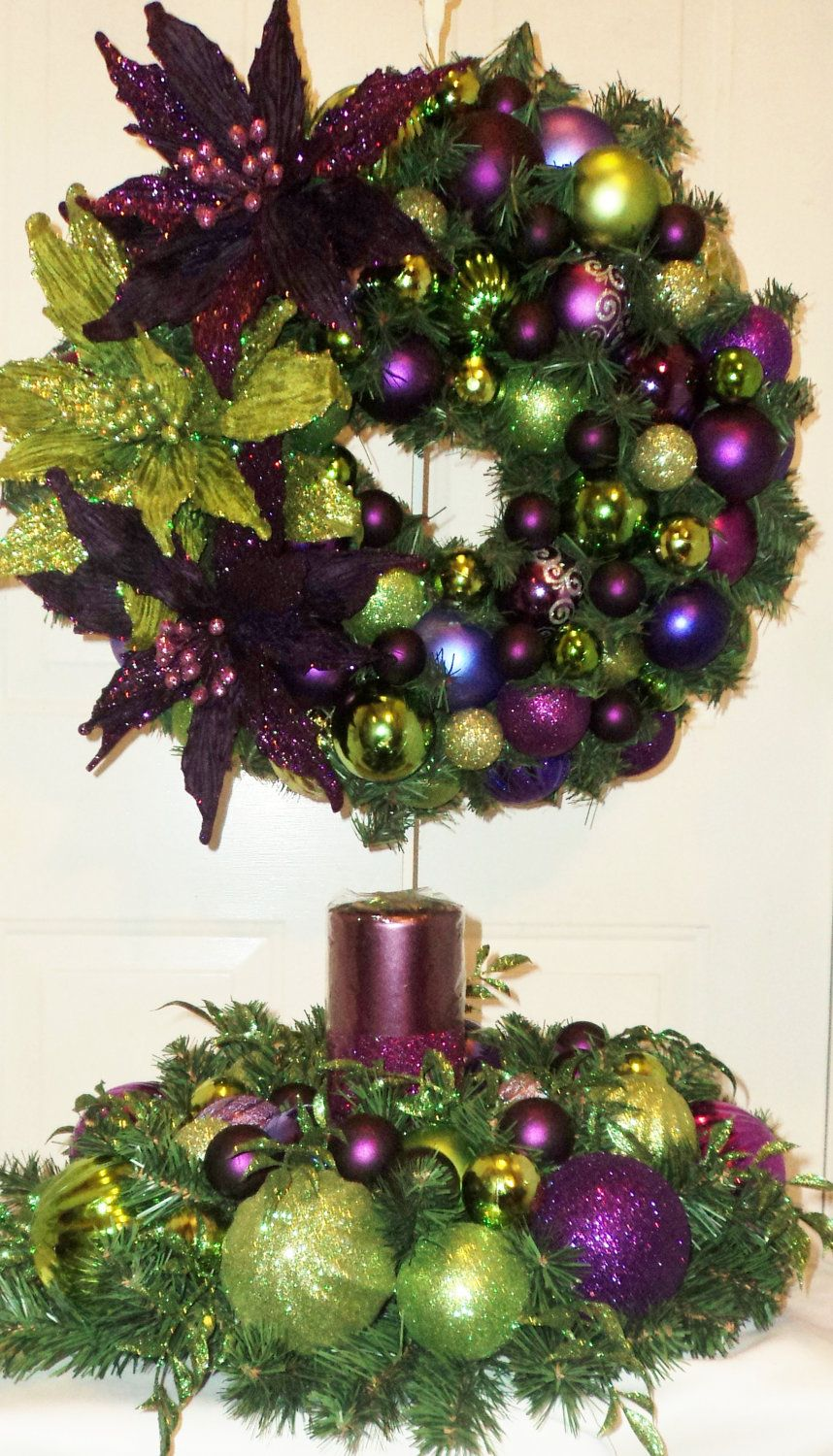Purple Lime Green Christmas Table Centerpiece Purple Or Lime Green Glitter  Candle