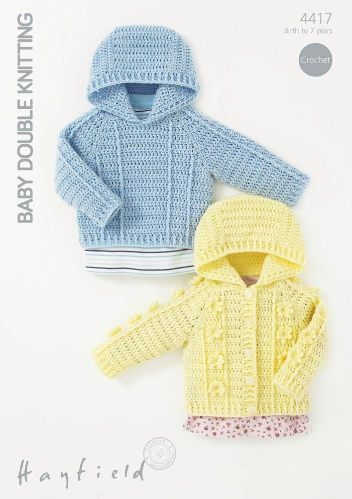 Crochet Textured Jumper and Cardigan in Hayfield Baby DK - 4417 ...