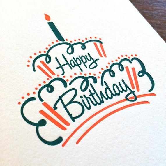 Happy Birthday Cake - Letterpress Card -   13 cake Drawing card ideas