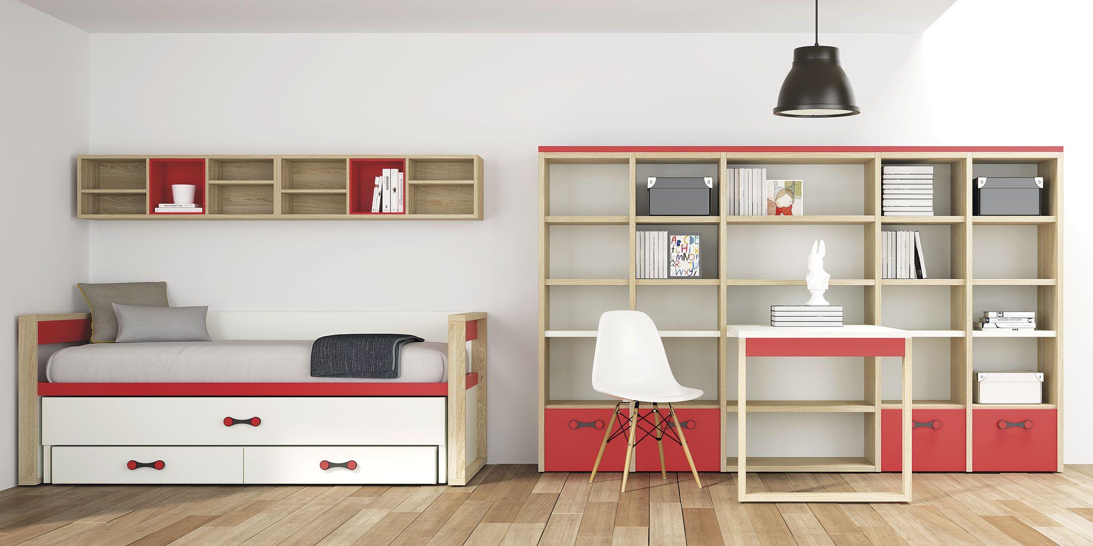 Life Box R2014-02. Cama nido con dos camas, estanterías y mesa escritorio.