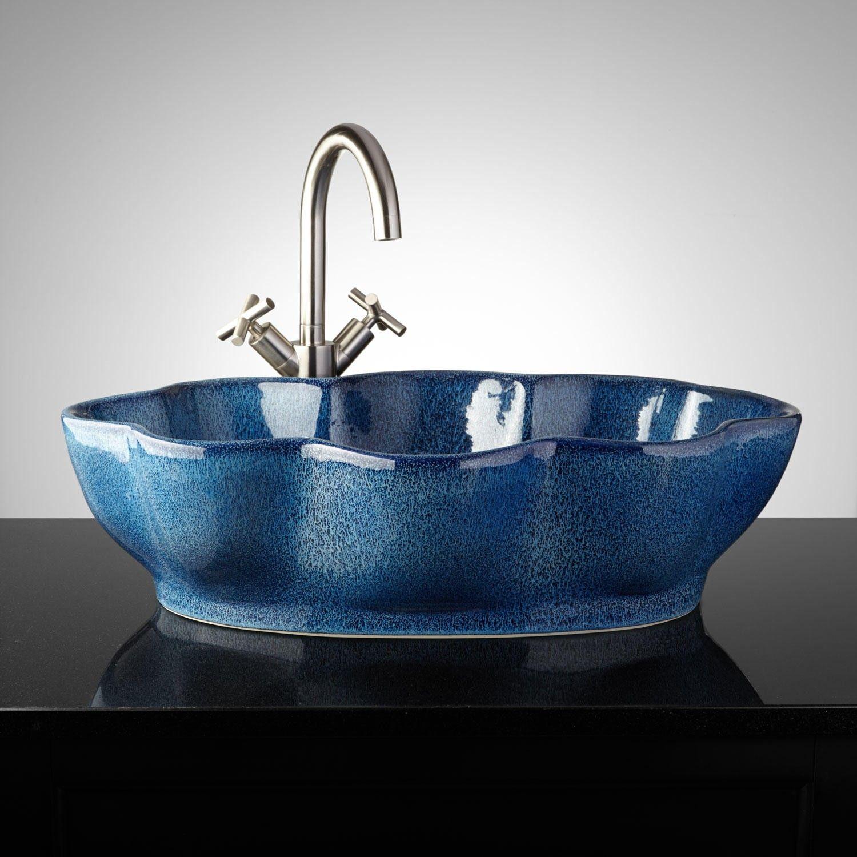 Keagy Hand-Glazed Pottery Vessel Sink - Ocean Blue - Bathroom