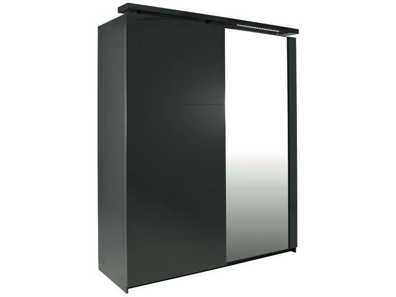 Armoire 2 portes coulissantes COCOON coloris gris prix promo ...