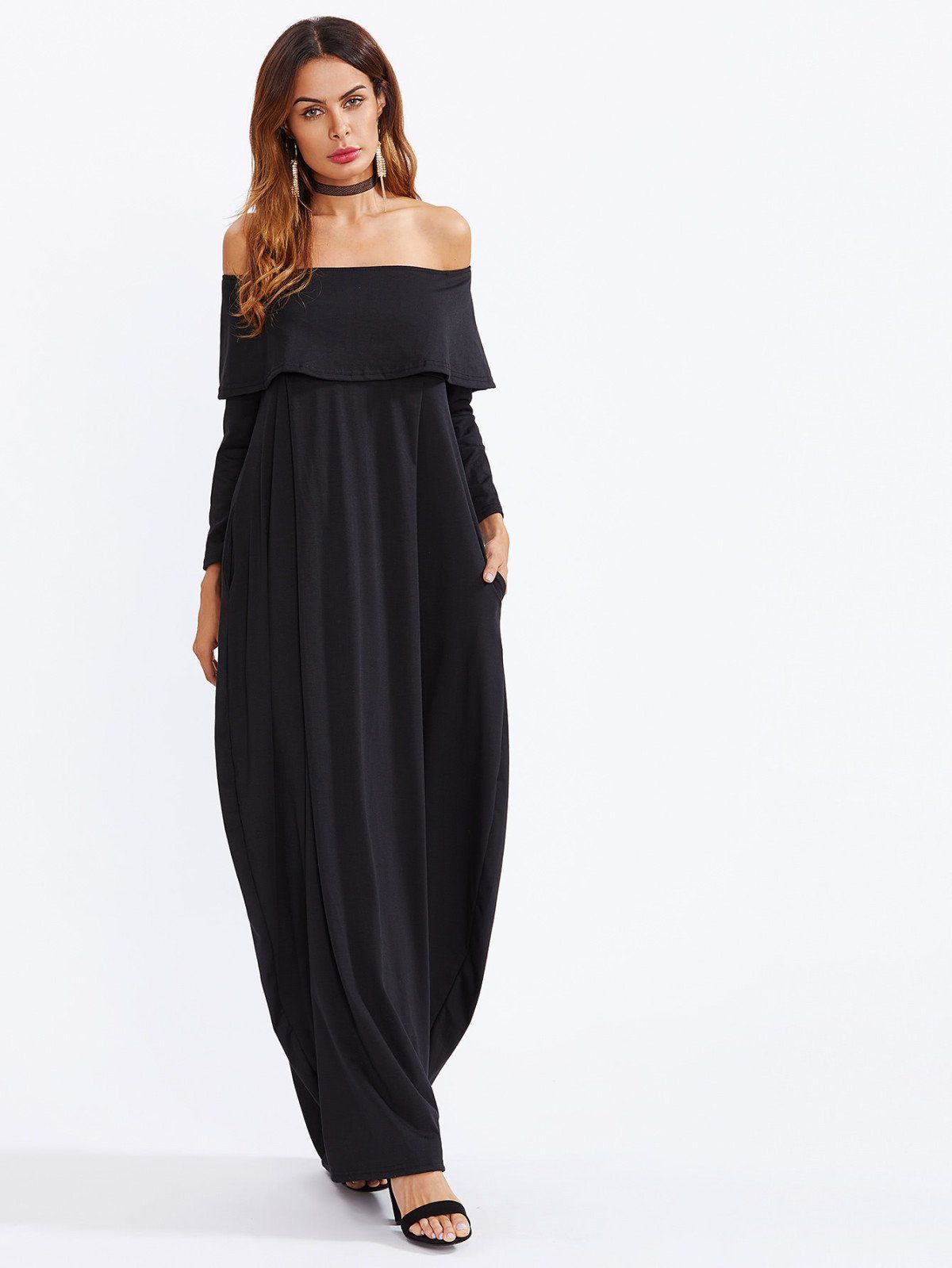 Dresses by borntowear flounce layered neckline cocoon dress